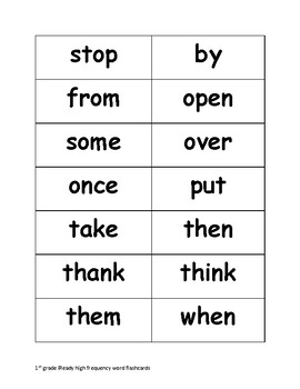 iReady 1st Grade High Frequency Words