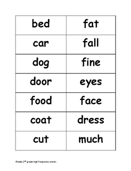 iReady 2nd Grade High Frequency Words