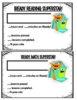 iReady Contest ~ AWARD ~  Motivates Students Math and Reading! Editable!