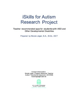 iSkills for Autism:  Recommended Apps for Students with Autism