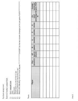 iWork numbers spread sheet MLB NHL statistics activity (excel)