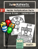 Harder Multiplication Facts - Color-by-Answer Worksheets
