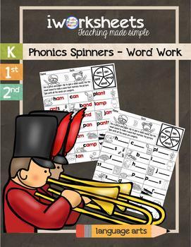 iWorksheets Phonics Spinners - Word Work Worksheets