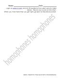 iXL Assignment Sheet for Homophones