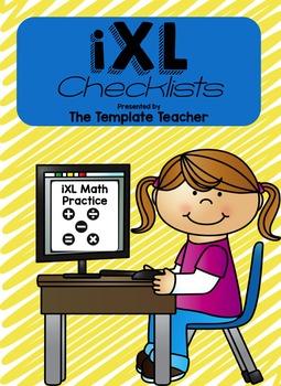 iXL Math Editable Checklists