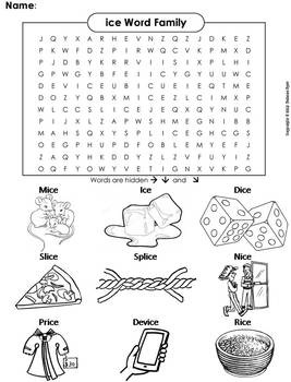 ice Word Family Word Search/ Coloring Sheet (Phonics Worksheet)