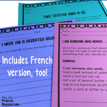 Icebreakers in French and English - back to school activities