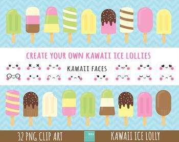 ice lolly clipart, kawaii ice lollies graphics, kawaii faces clipart, ice cream