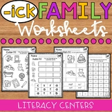 ICK Word Family Worksheets - ICK Family Worksheets - ICK Worksheets