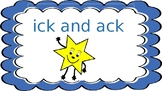 ick and ack spelling pattern