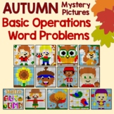 Autumn Word Problems, Fall Math Coloring Pages Mystery Picture Fun Activity