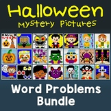 Halloween Word Problems Math Coloring, Halloween Word Problems Worksheet