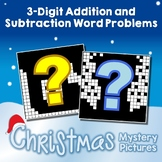 Holiday Color By Number Addition & Subtraction Christmas Word Problems 3-Digits