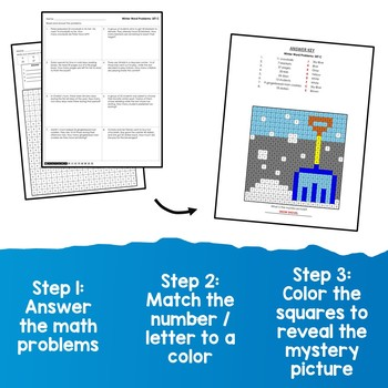 Mystery Picture Subtraction Color By Number, Winter Subtraction Story Problems