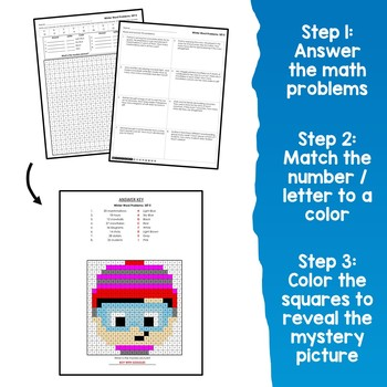 Math Facts Coloring For Winter, Word Problems Multiplication Worksheets