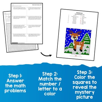 Mystery Picture Multiplication Coloring, Winter Word Problems Multiplication