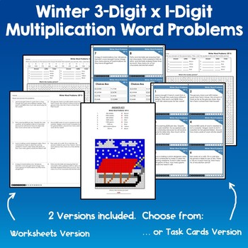 3 by 1-Digit Multiplication Word Problems Winter Multiplication Coloring Sheets