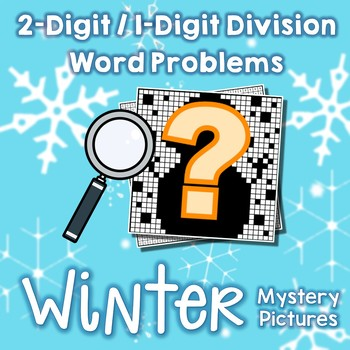 Winter Division Color Math Page, Holiday Activity 4th Grade Snow Mystery Picture
