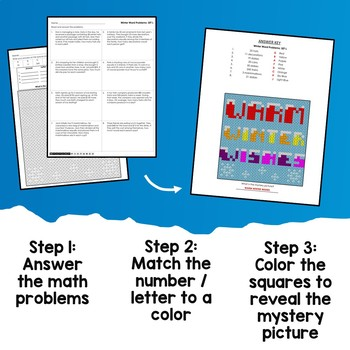 2-Step Winter Word Problems, Math Color By Answer Mystery Picture Sheets