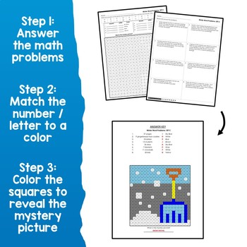 Mystery Picture Subtract And Color Winter Subtraction Word Problems Worksheets