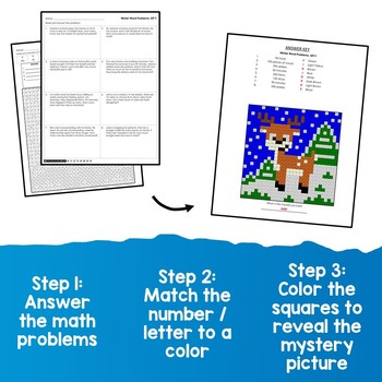 Holiday Mystery Picture Math Coloring Pages Winter Word Problems Worksheet