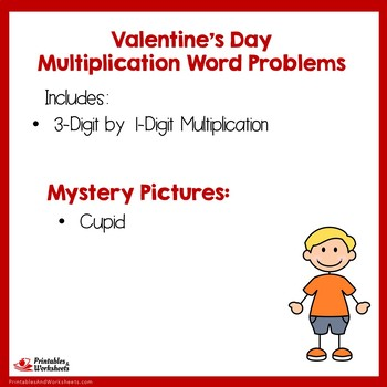 Valentines Day Color By Number Multiplication Word Problems 3-Digit By 1-Digit