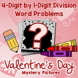 Valentine's Day 4-Digit by 1-Digit Division Word Problems