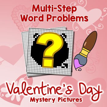 Valentine Multi Step Word Problems February Math Center 4th Grade Coloring Pages