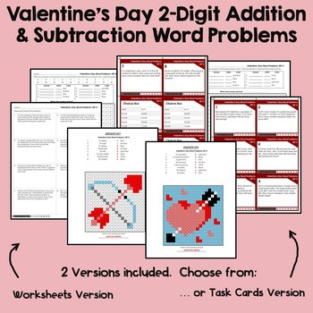 Math Centers Addition & Subtraction Word Problems Valentines Day Coloring Sheets