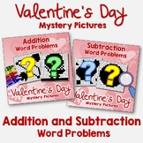 Color By Number Math Valentines Day Addition & Subtraction Word Problem Strategy