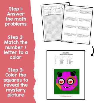 Math Color By Number Valentines 2 Step Word Problems Homework Mystery Pictures