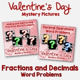 Valentine's Day Fractions and Decimals Word Problems