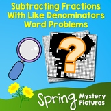 Spring Subtracting Fractions With Like Denominators Word Problems