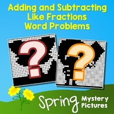 Spring Adding and Subtracting Like Fractions Word Problems