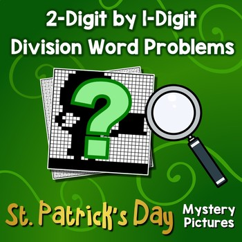 St. Patrick's Division 1-Digit By 2 Practice Sheets, Math Mystery Picture Sheets