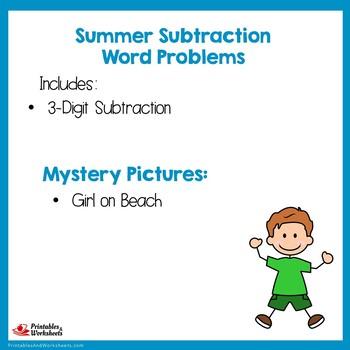 Math Problem Solving Summer Subtraction Practice Math Center 3-Digit Subtraction