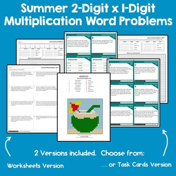 Mystery Multiplication Color Number, Summer Themed Word Problems Mystery Picture