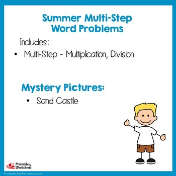 Color By Code Math Summer Word Problems Packet, Mystery Picture Center Activity