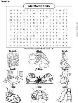 ide Word Family Word Search/ Coloring Sheet (Phonics Worksheet)