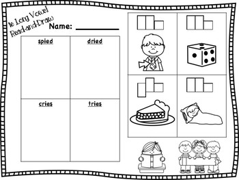 ie Long Vowel Read-and-Draw (long i sound)