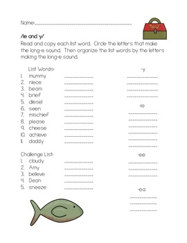 ie and y long-e phonics worksheet