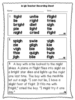 ie igh - Phonics Fluency Assessment