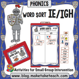 ie igh Word Sort - File Folder Word Sorts