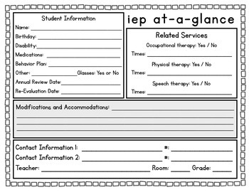 iep Information Sheet (at-a-glance)