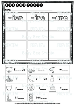 ier, ire, ure Sorts  Cut and Paste Worksheets