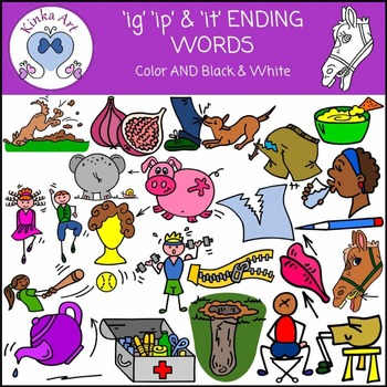 ig, ip and it Ending Sounds Clip Art