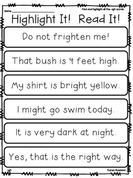 igh words - fluency and comprehension