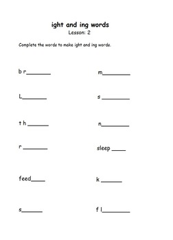ight and ing practise worksheet for kindergarten