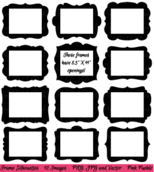 "Digital Picture Frames Clipart with 8.5"" x 11"" Openings"