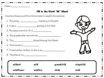 """ild"" and ""old"" Word Family Packet"